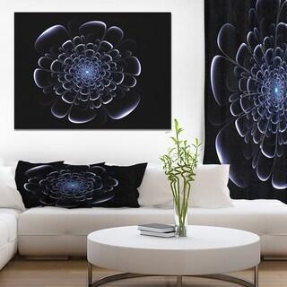 Designart 'Fractal blue flower on black' Digital Art on wrapped Canvas - Black