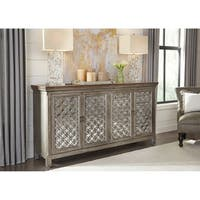 Liberty Tracy White Dusty Wax-finish Wood/Glass 4-door Accent Cabinet