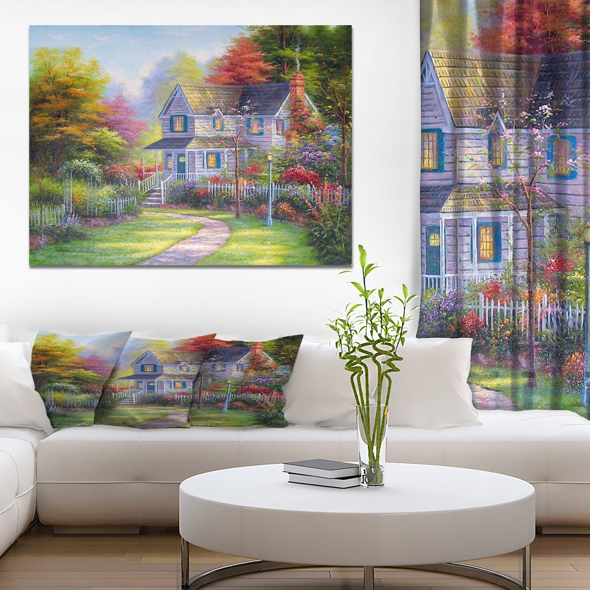 Designart Victorian Garden Landscapes Print On Wrapped Canvas Green Overstock 21276855