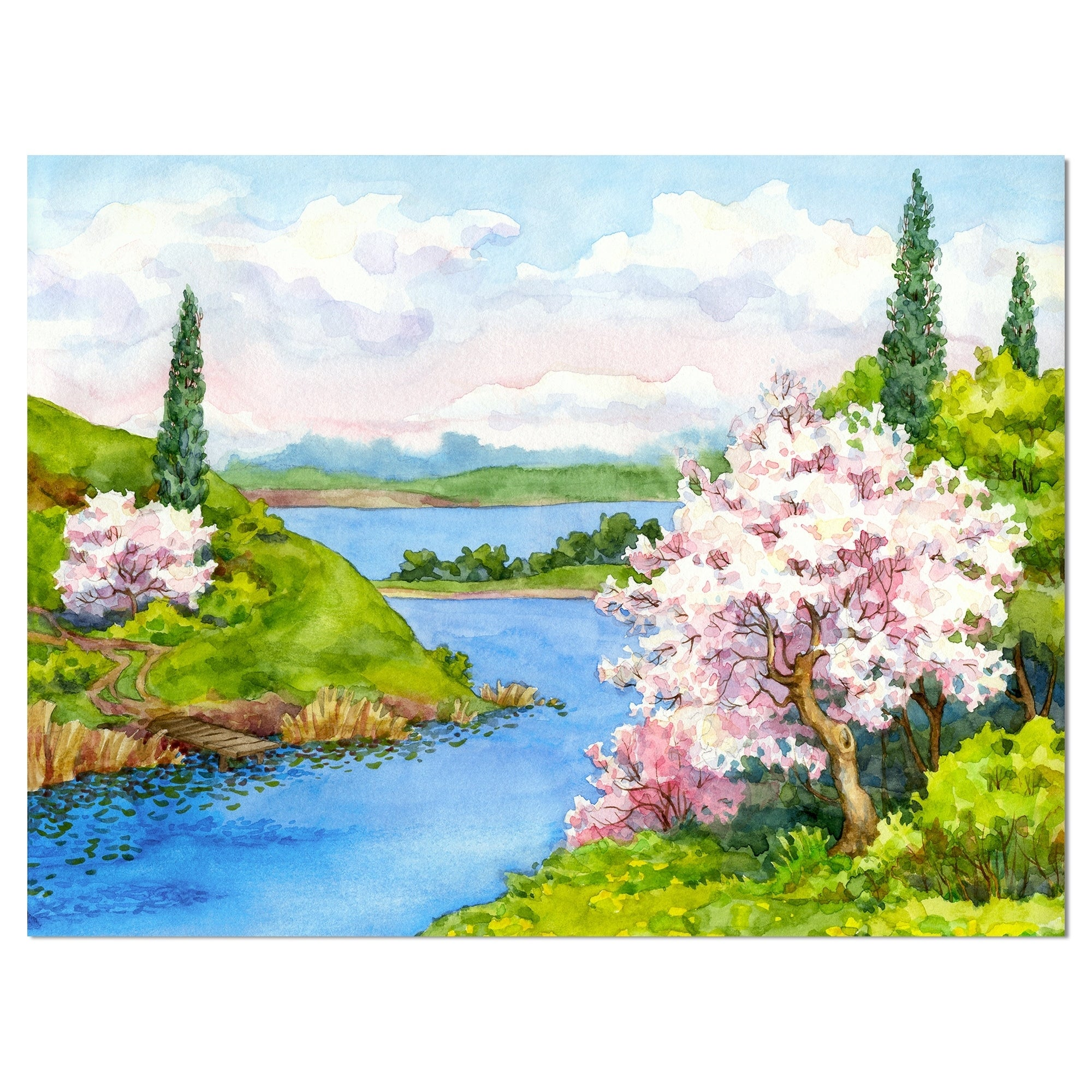 Created On Lightweight Polyester Fabric Medium x 32 in Designart Bushes and Trees in River Bank Landscape Tapestry Blanket D/écor Wall Art for Home and Office 39 in