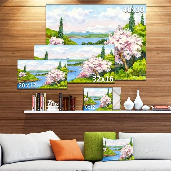 Designart Flowering Trees In Winding River Landscapes Print On Wrapped Canvas Green Overstock 21276862