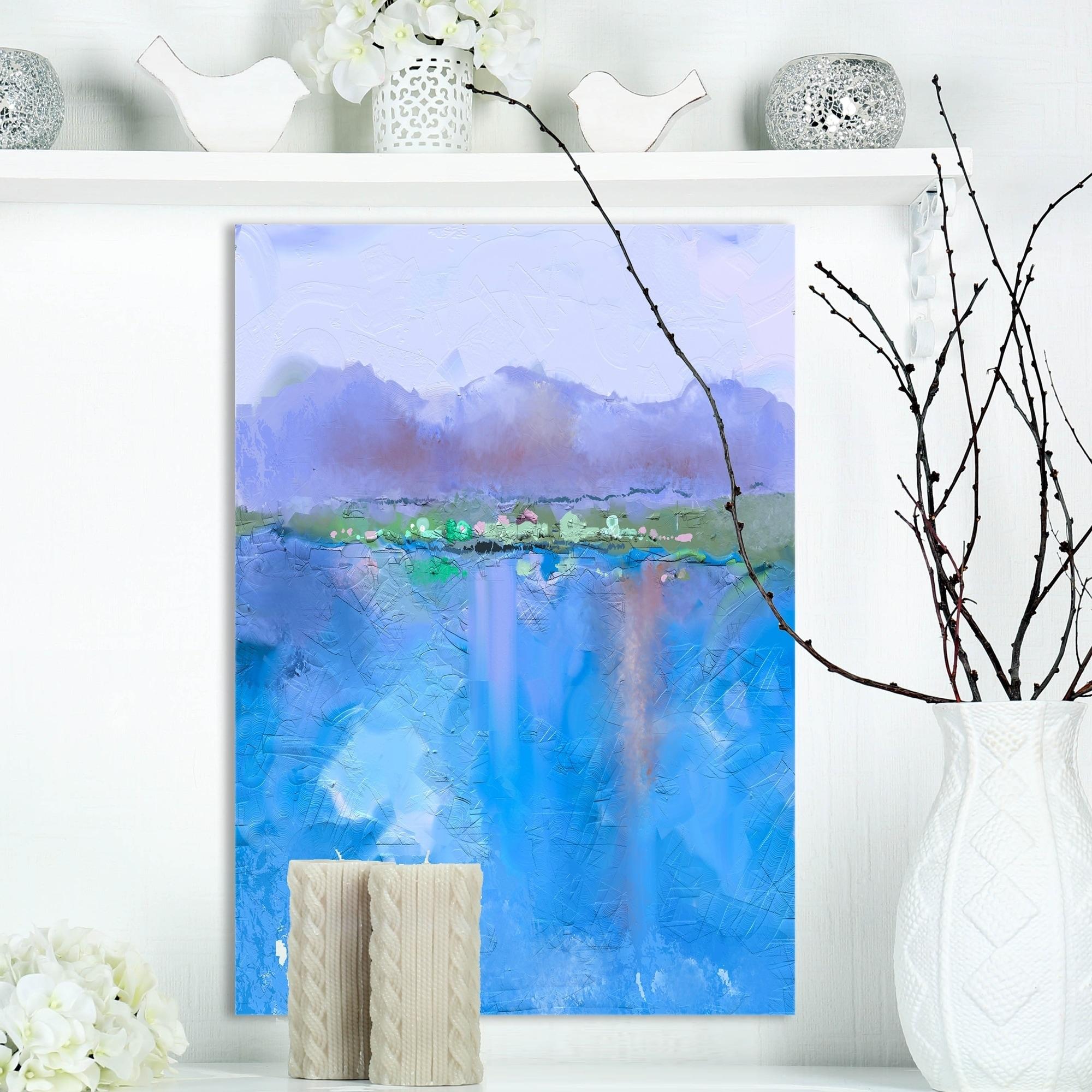 Landscape Canvas Prints Painting Picture Wall Art Purple scenery Blue Lake