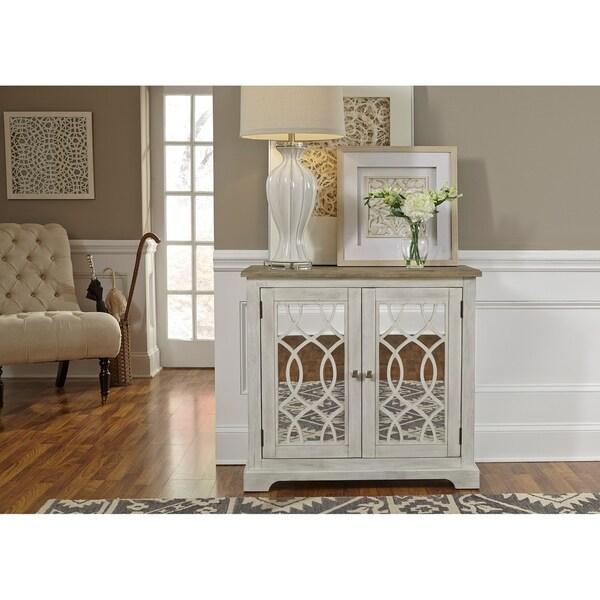Camille Antique White 2 Door Mirrored Accent Cabinet