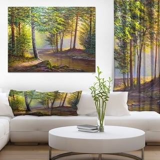 Designart 'Colorful Summer Sunset with Watefall' Forest Landscapes Photographic on wrapped Canvas - Green