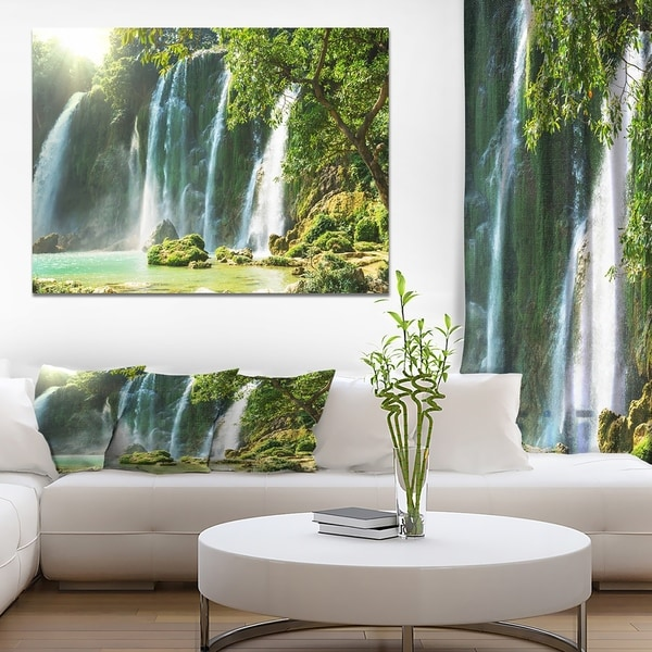 Designart 'Spring Waterfall in Vietnam' Lake Landscapes Photographic on wrapped Canvas - Brown