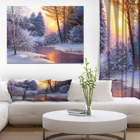 Designart 'Winter Forest in River' Landscapes Painting Print on Wrapped Canvas - White