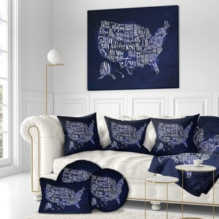 Designart 'United States Blue Vintage Map' Maps Painting Print on Wrapped Canvas