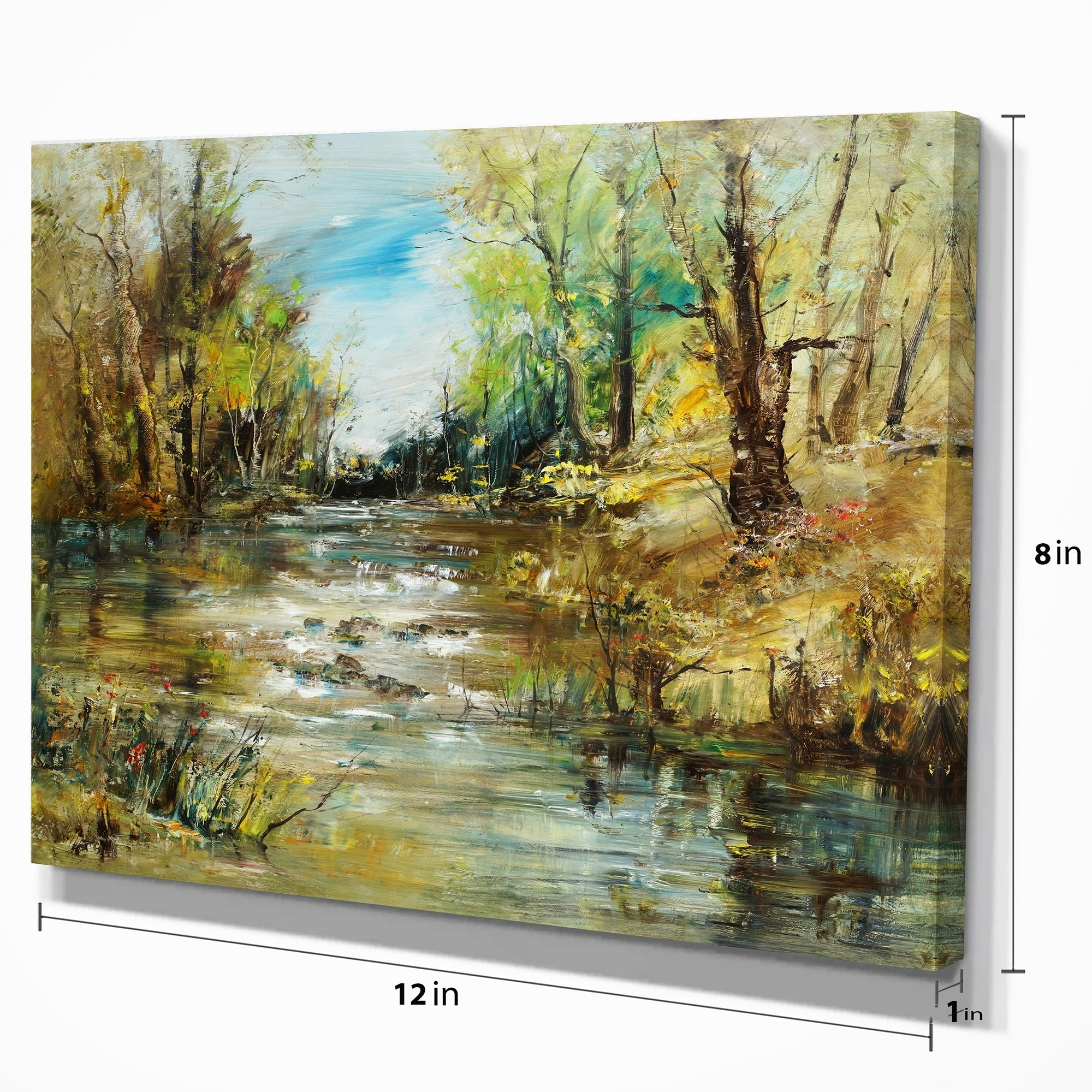 Designart Trees By The River Landscapes Print On Wrapped Canvas Green Overstock 21277192