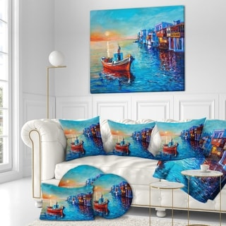 Designart 'Fishing Boat in Coastal town' Nautical Painting Print on Wrapped Canvas