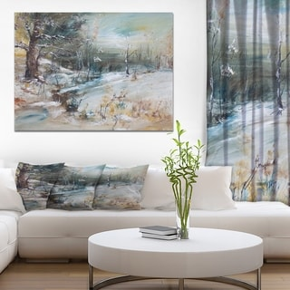 Designart 'Snowy Trees' Landscapes Painting Print on Wrapped Canvas - White