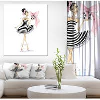 Designart 'Girl Holding a Gift' Glamour Painting Print on Wrapped Canvas