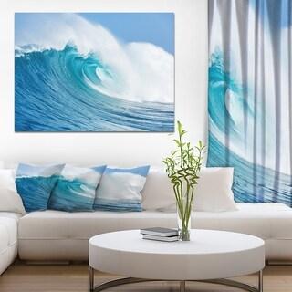 Designart 'Blue Ocean Wave' Sea & Shore Photography on wrapped Canvas