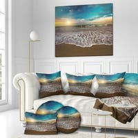 Designart 'Ocean Waves at Sunrise' Sea & Shore Photography on wrapped Canvas