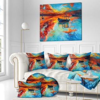 Designart 'Fishing Sailing Boat at Red Sunset' Sea & Shore Painting Print on Wrapped Canvas