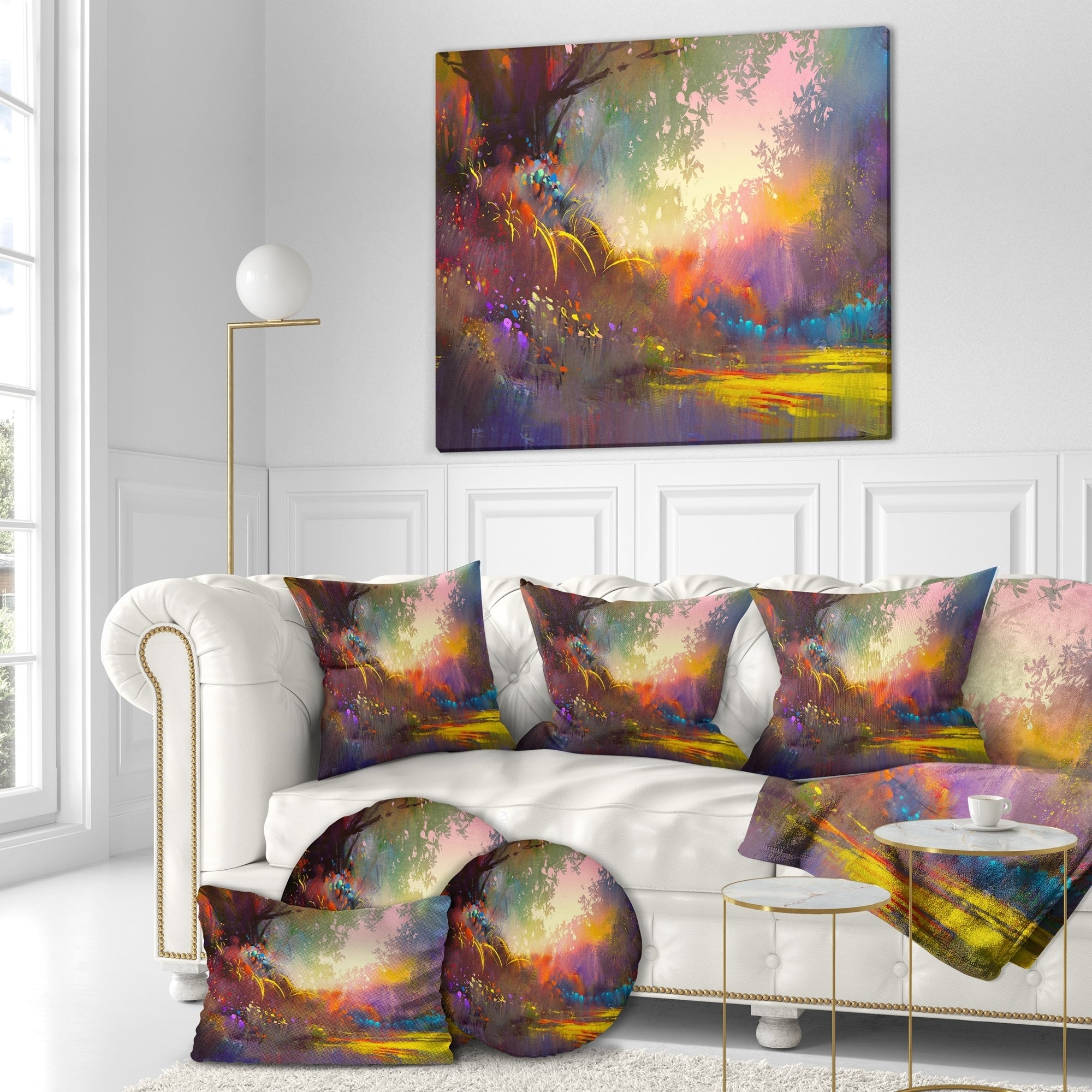 Designart Colorful Landscape Landscapes Print On Wrapped Canvas Brown Overstock 21277436