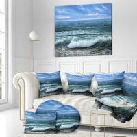 Designart ' Ocean shore under Blue Sky' Sea & Shore Painting Print on Wrapped Canvas