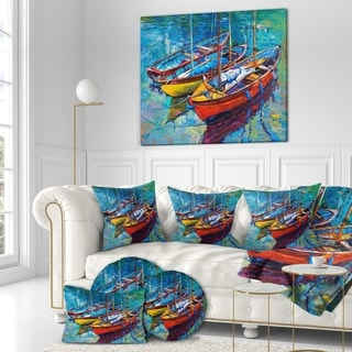 Designart 'Three Fishing Boat Oil Painting' Sea & Shore Painting Print on Wrapped Canvas