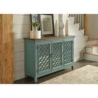 Liberty Stephanie Turquoise Wood/Clear Glass 3-door Accent Cabinet