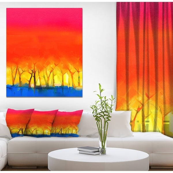Designart 'Tree and Red Sky Spring Season' Landscapes Painting Print on Wrapped Canvas - Orange