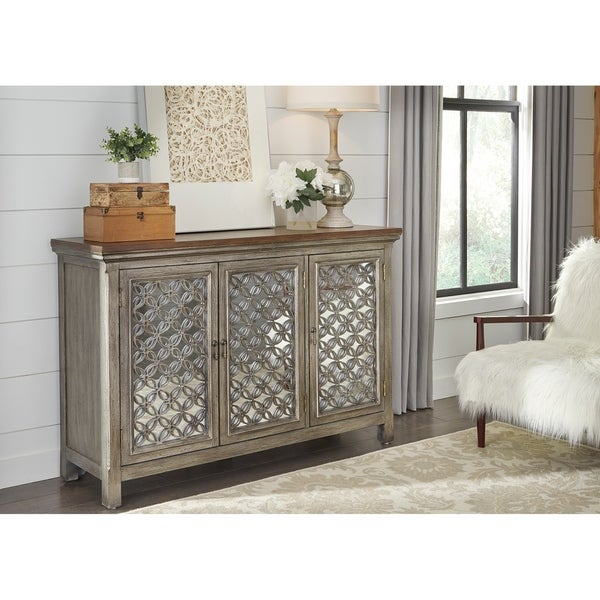 Tracy White Dusty Wax 3-door Accent Cabinet  sc 1 st  Overstock.com & Tracy White Dusty Wax 3-door Accent Cabinet - Free Shipping Today ...
