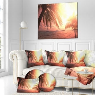 Designart 'Coconut in Golden Sunset' Landscapes Sea & Shore Photographic on wrapped Canvas