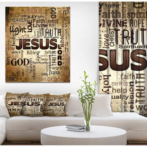 Designart 'Jesus' word cloud in grunge background' Religious Contemporary on Wrapped Canvas