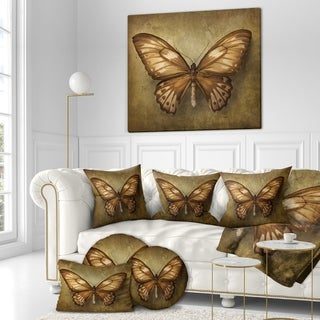 Designart 'Vintage Butterfly' Vintage Painting Print on Wrapped Canvas - Brown