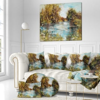Designart 'Lake with trees and bushes' Landscapes Painting Print on Wrapped Canvas - Green