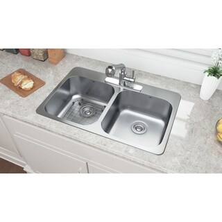 Ancona Top Mount Double 32 in. Sink with Toledo Faucet Combo
