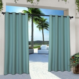 """ATI Home Indoor/Outdoor Cabana Curtain Panel Pair with Grommet Top 84"""" in Taupe (As Is Item)"""
