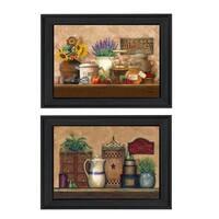 """Antique Kitchen - Treasures"" 2-Pc Vignette by Ed Wargo, Black Frame"