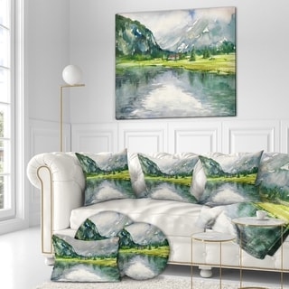 Designart 'Mountain and Lake in Autumn' Landscapes Painting Print on Wrapped Canvas - Green