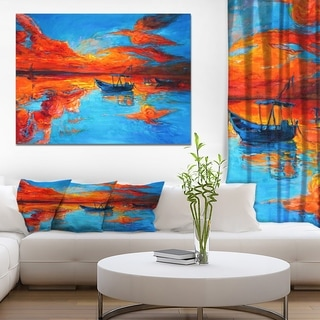 Designart 'Golden Sunsent and Blue Sky over Sail Boats' Nautical Painting Print on Wrapped Canvas