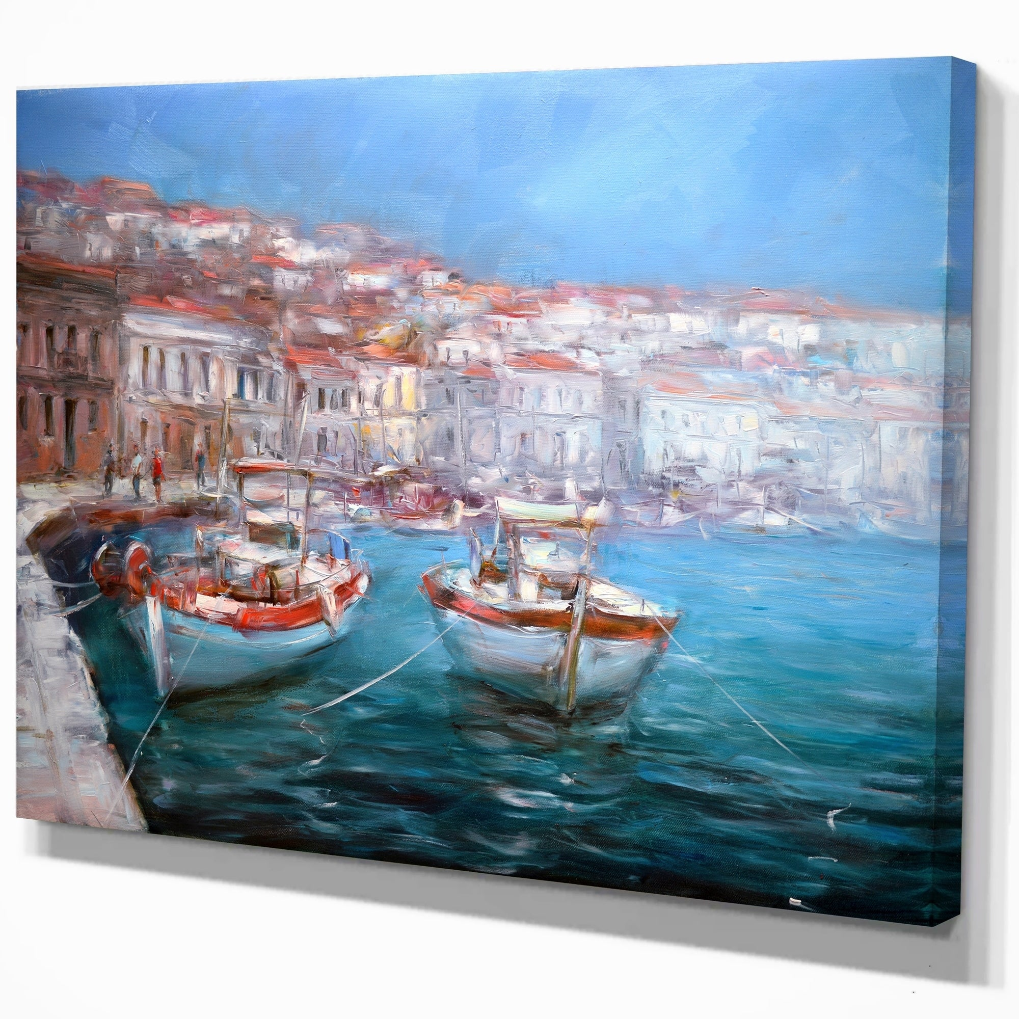 Designart Venice Italy Two Boats On The Island Harbor Nautical Print On Wrapped Canvas Overstock 21277966