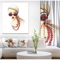 Designart 'Beautiful girls send an air kiss' Glamour Painting Print on Wrapped Canvas