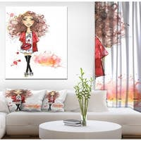 Designart 'Fashionable teenage girl' Glamour Painting Print on Wrapped Canvas