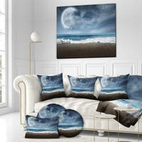Designart 'Calm Ocean under Full Moon' Sea & Shore Photography on wrapped Canvas