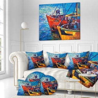 Designart 'Colorful Fishing Boat at Blue Sea in Oil Painting' Sea & Shore Painting Print on Wrapped Canvas