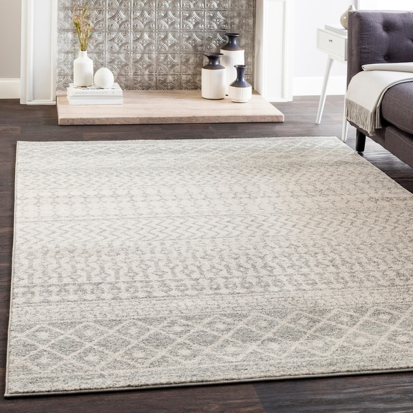 Edie Collection Grey/White Geometric Bohemian Area Rug   7u0026#x27 ...