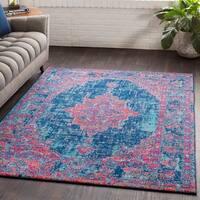 Ellie Pink Distressed Oriental Vintage-style Area Rug (7'10 x 10'3)