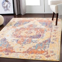 Saffron Distressed Yellow/Multicolor Medallion Area Rug - 7'10 x 10'3