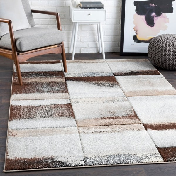 Adalyn Brown Contemporary Abstract Area Rug - 2' x 3'