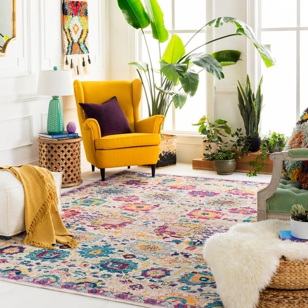 "Layla Bright Bohemian Floral Area Rug - 2'2"" x 3'"