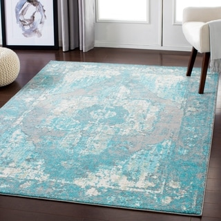 Aqua Distressed Vintage Area Rug - 2' x 3'