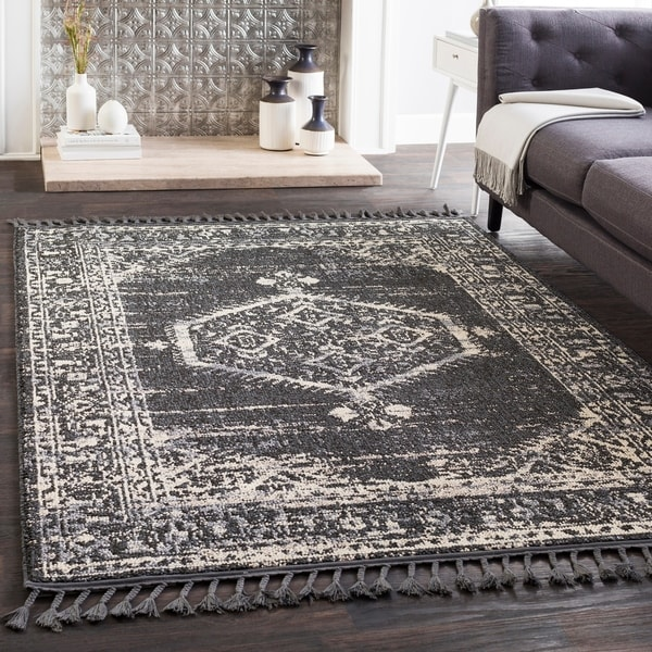 "Lucie Black Boho Medallion Tassel Area Rug - 2'7"" x 10' Runner"