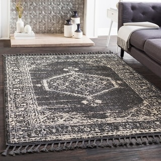 "Lucie Black Boho Medallion Tassel Area Rug - 2'7"" x 7'3"" Runner"