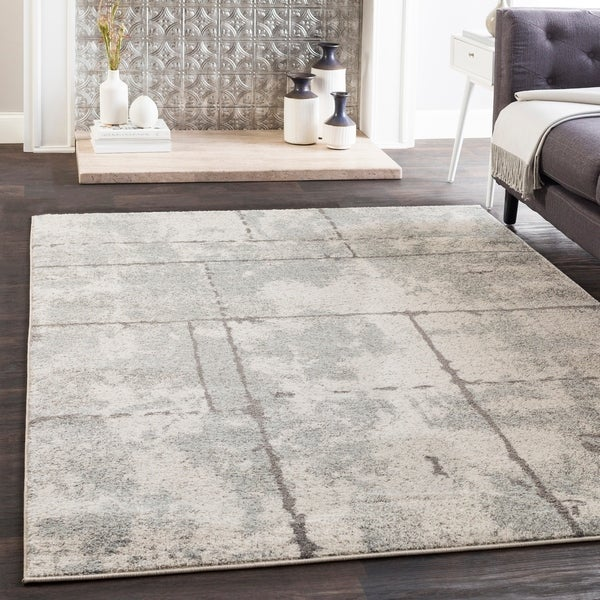 "Corrie Light Gray Contemporary Grid Area Rug - 2'7"" x 7'6"" Runner"