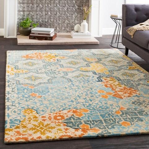 "Marlow Orange/Blue Handmade Wool Patchwork Area Rug - 5' x 7'6"""