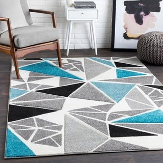 "Glacial Teal Contemporary Area Rug - 2'7"" x 7'6"" Runner"