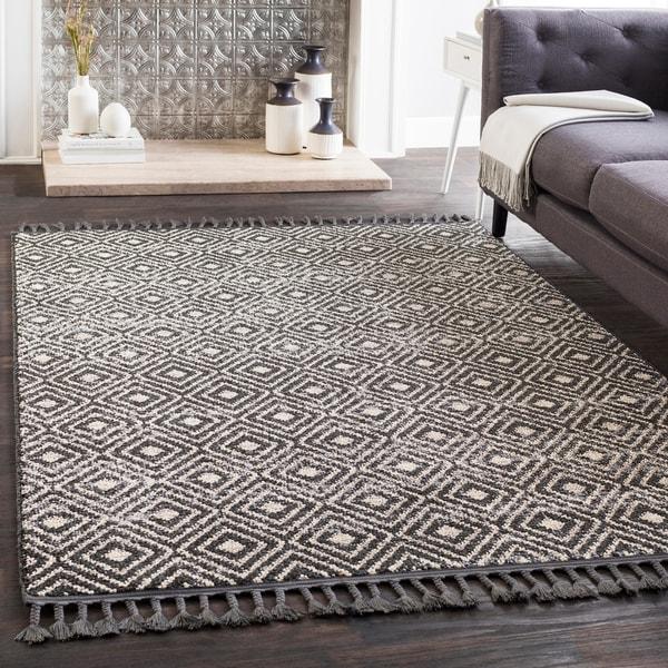 Shop Lyla Black Moroccan Tile Tassel Area Rug